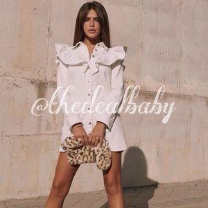Zara White Ruffle Mini Denim Dress Long Sl…